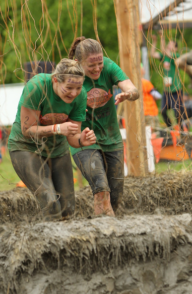 Francine and Rachel pass through the electroshock therapy obstacle